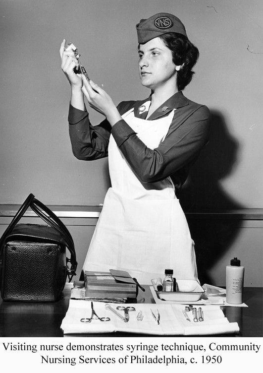 Visiting nurse demonstrates syringe technique, Community Nursing Services of Philadelphia, c.1950. Image courtesy of the @nursinghistory