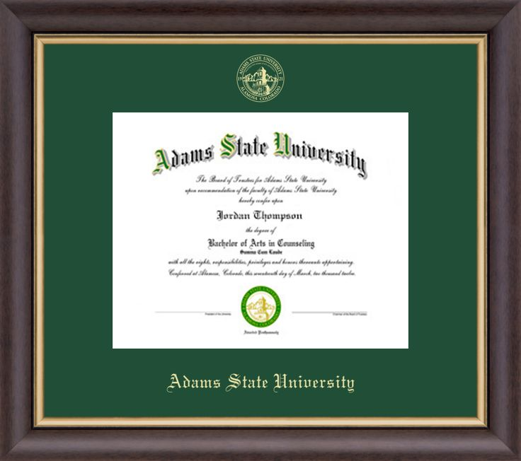 Adams State University  - Gold Embossed Diploma Frame in Hampshire with Tartan Green Mat