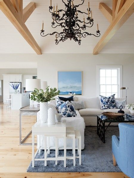 1000 images about blue white living room on pinterest - Pictures of blue and white living rooms ...