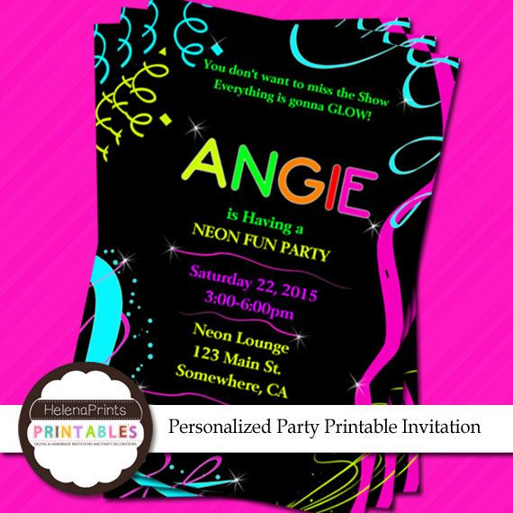 Neon glow party Invitation Glow party Birthday by HelenaPrints