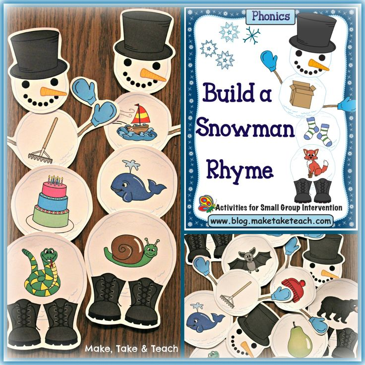 Build A Snowman activity for rhyme and beginning sounds. Fun for winter-themed centers!: