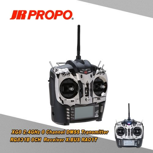 Origianal JR XG8 2.4GHz 8 Channel DMSS Transmitter (Mode 2) & RG831B 8CH Receiver with X.BUS System RA01T Remote Antenna