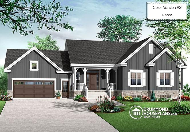 Color version 2 - Front 6 bedrooms Transitional style Bungalow house plan, 2 family rooms, computer area, Ranch style home - Primrose 2