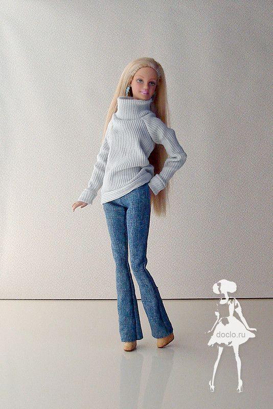 Свитер, джинсы с карманами и сапоги из термоклея  Patterns available