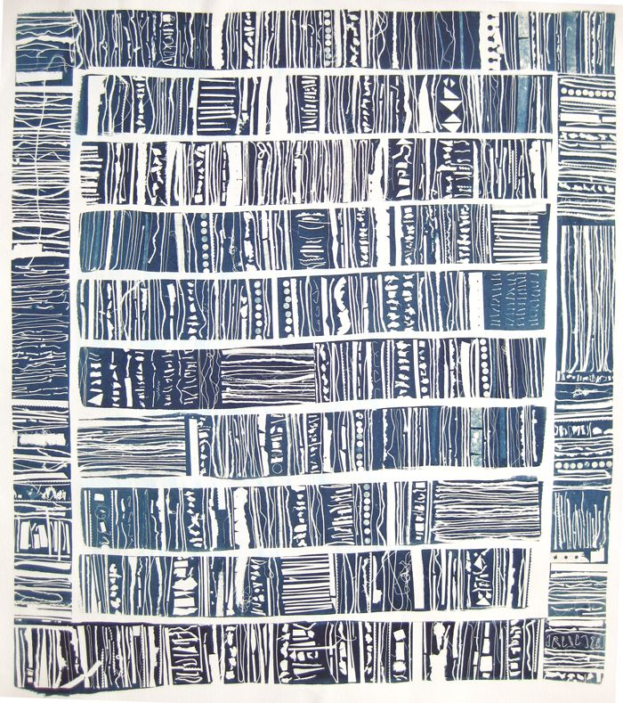 """Peter Madden, Catalog, 2010. Part of the decade-long project """"Homework."""" Cyanotype of handmade negatives on paper."""