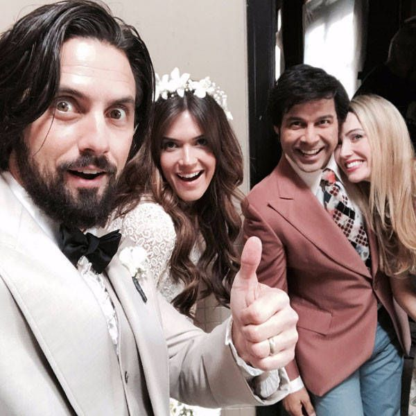 Pearson Wedding Party from Going Behind the Scenes of This Is Us With the Adorable Cast  Milo Ventimiglia and Mandy Moore pose with Jon Huertas and Wynn Everett between takes.