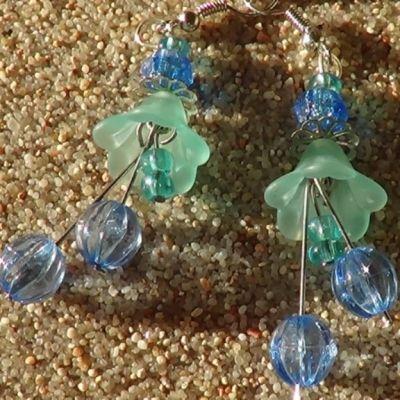 Lucite flower earrings ..