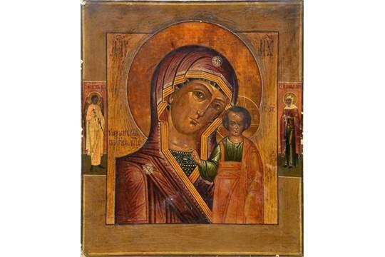Ikone, Russland, um 1900, Darstellung der Gottesmutter von Kasan, Ei-Tempera auf Holz, teilweise