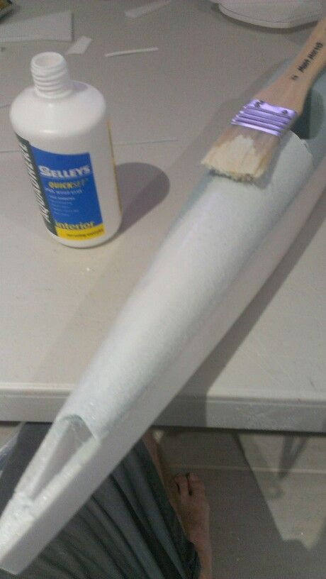 White glue is a great way of sealing blue foam! Nice sealed shiny surface good for acrylic painting.
