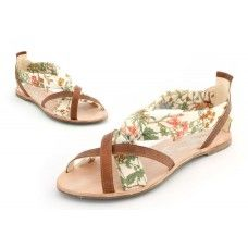 'Felicity' Leather and Textile Sandal made by Cholesburys in #Buckinghamshire - £153.00