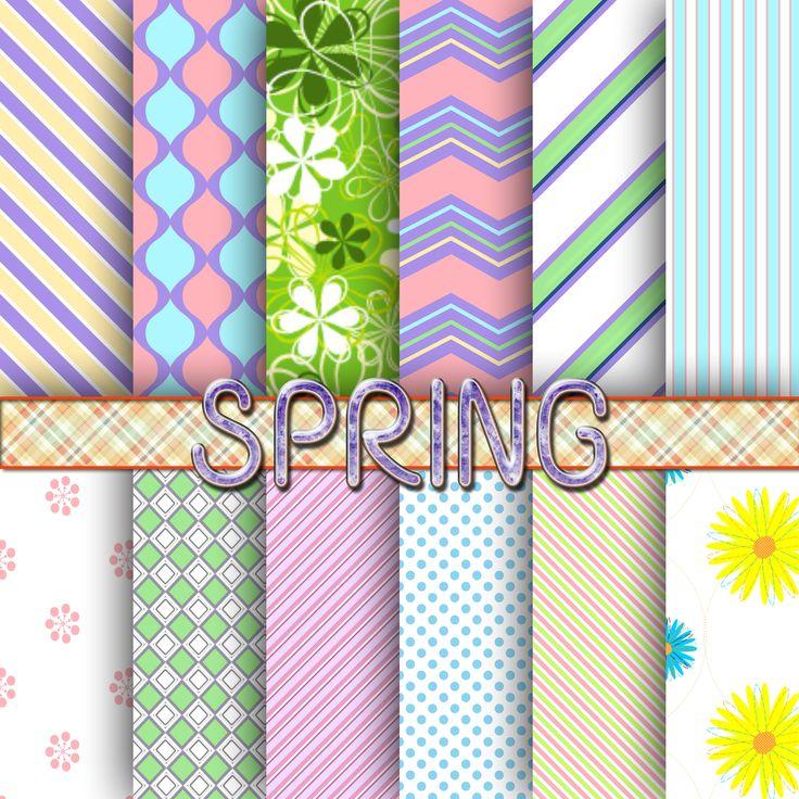 Spring digital paper, scrapbook, background by BearsDenDigitalArts on Etsy