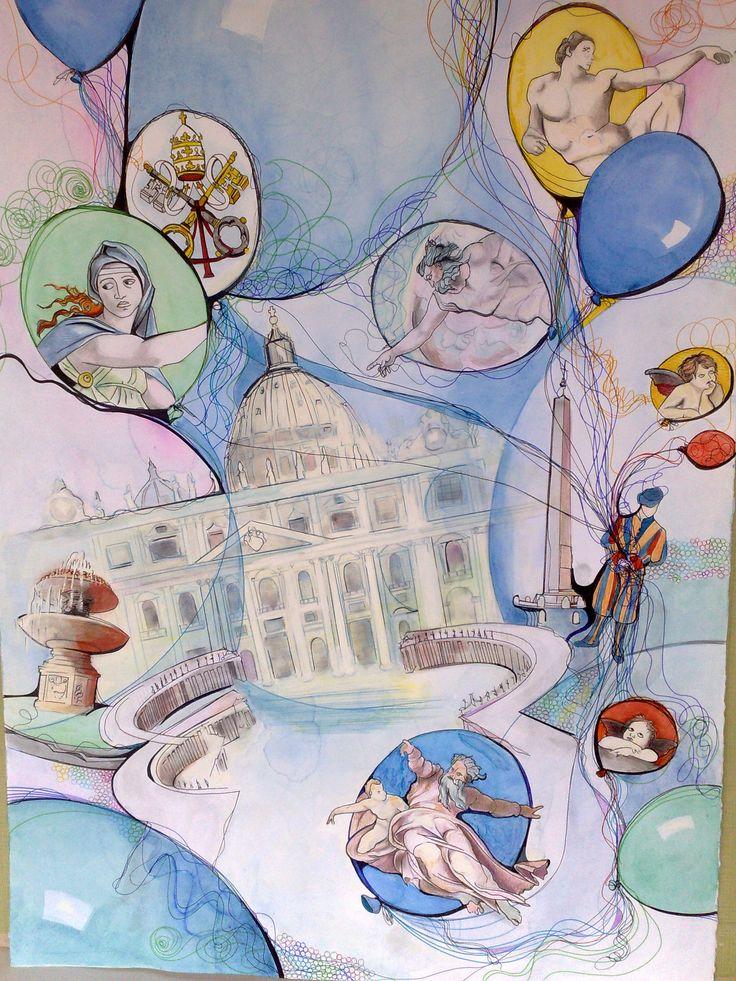 Opera dedicata al Vaticano e a Michelangelo...donata a Papa Francesco (opera di Alba Tortorici)