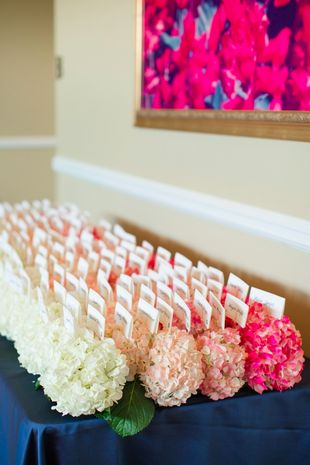 Ummm LOVE! Nest cards in rows of lush flowers. {Katelyn James Photography}