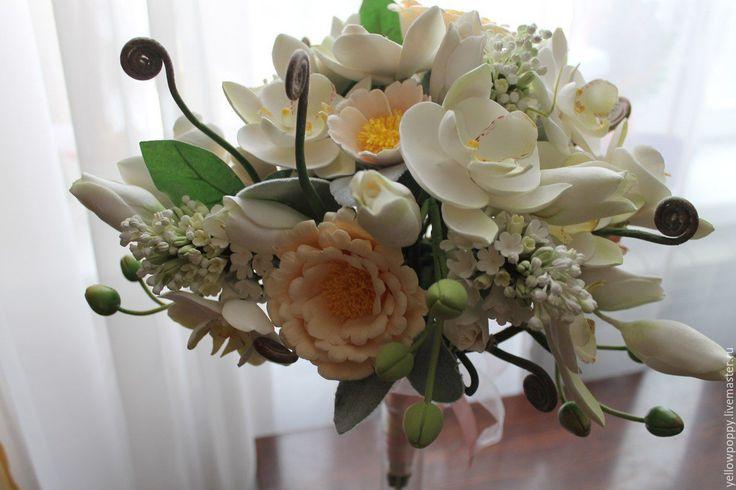 Купить Букет для невесты с орхидеями, шиповниковой розой и веточками сирени - свадебные аксессуары, свадебные цветы