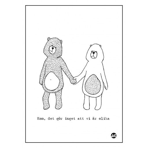 Kom, poster by Anna Grundberg #nordicdesigncollective #annagrundberg #come #difference #oppositeattracts #couple #love #affection #holdinghands #bears #animal