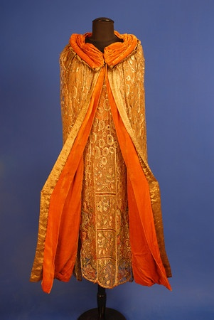 1920s BEADED and JEWELED GOLD LACE DRESS and CAPE.