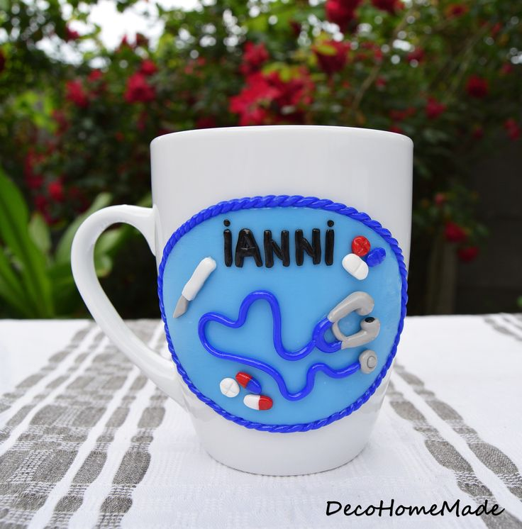Personalized Ceramic Mug /Cup Polymer Clay