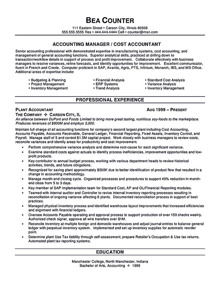 sample resume accounting work experience http resumecareer accountant finance example professional best free home design idea inspiration - Sample Resume For Accounting Position