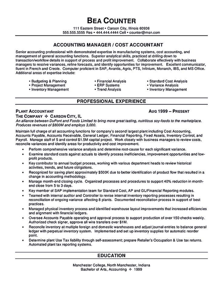Senior Accountant Job Description Accountant Resume Objective - cost accountant resume