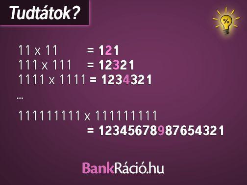 11x11=121 111x111=12321 1111x1111=1234321 .... 111111111x111111111=12345678987654321