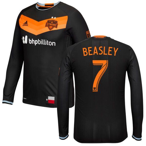 Men's Houston Dynamo Damarcus Beasley adidas Black 2016 Authentic Secondary Long Sleeve Jersey