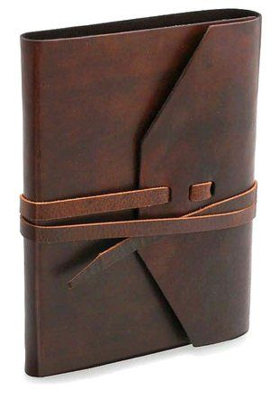 Rustic Brown Italian Leather Journal with Tie