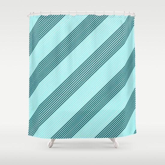 Sea Wave Tracks Shower Curtain #stripes #striped #slanted #sideways #lines #shower #curtain #showercurtain #bathroom #home #decor #curtains #decorative #art #modern #mint #teal #aqua #turquoise