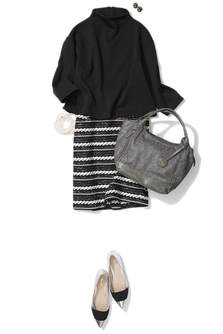 大人素材のボーダースカートで秋から冬への艶感コーデ ― A
