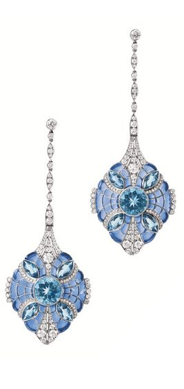 PAIR OF PLIQUE-A-JOUR ENAMEL, AQUAMARINE AND DIAMOND PENDENT EARRINGS, Tiffany & Co. Each centring on a circular-cut aquamarine, set with four marquise-shaped aquamarines, to a plique-à-jour blue enamel background, embellished by brilliant-cut diamonds, the aquamarines and diamonds altogether weighing approximately 8.85 and 2.30 carats respectively, mounted in platinum, signed and numbered 6557220.