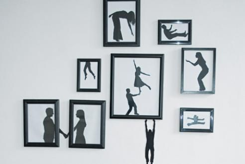 Paper-silhouette art made using real pictures of family and friends