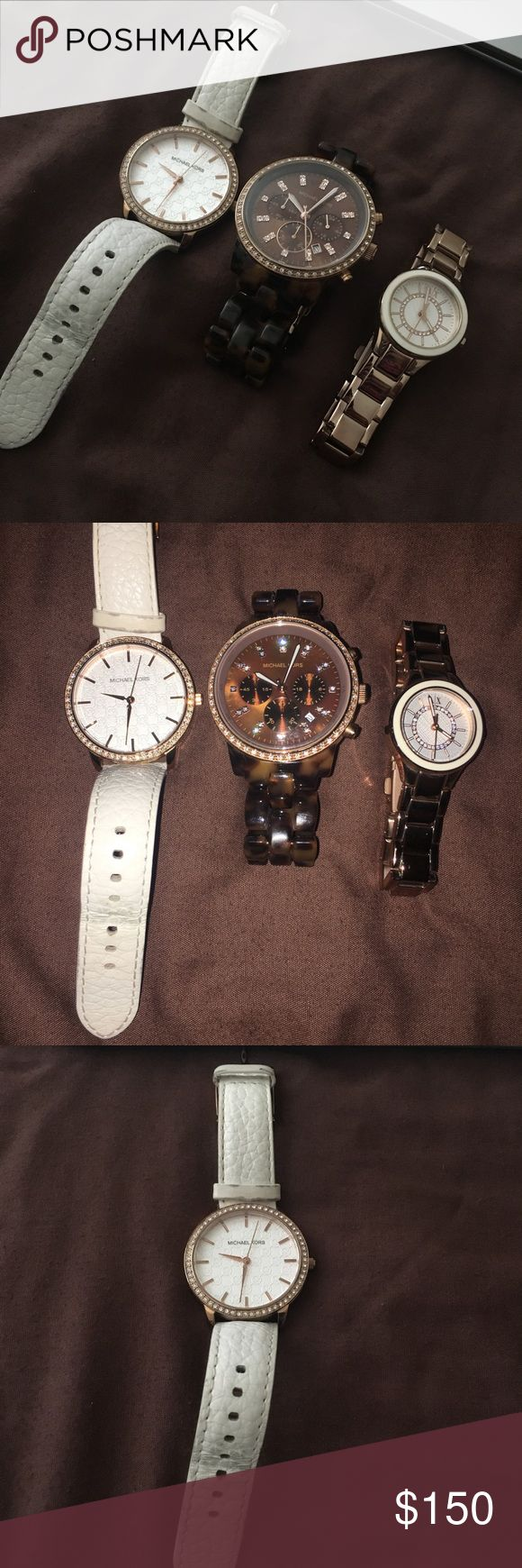 Michael Kors Watch Bundle 100% Authentic watches(Michael Kors and Armani Exchange). The white watch with leather strap shows the most sign of wear. All batteries need to be replaced. I still get endless compliments on all of these watches. Willing to accept the best offer! Please let me know if you'd like to see additional pictures of any item. Michael Kors Accessories Watches