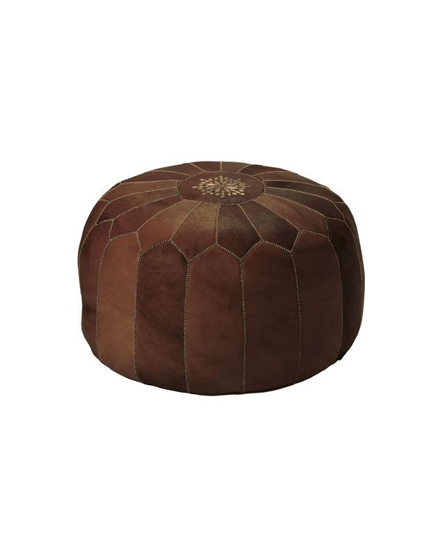 Moroccan Leather PoufMoroccan Leather Pouf