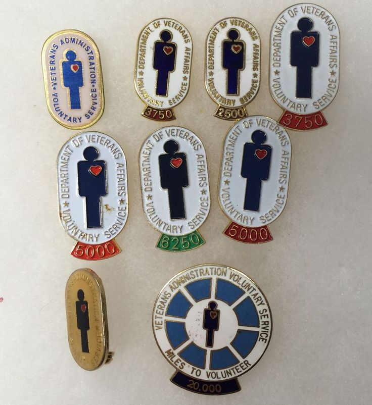 Lot of 9 VA Voluntary Service Award Pins - Dept. Veterans Affairs - Free Ship!