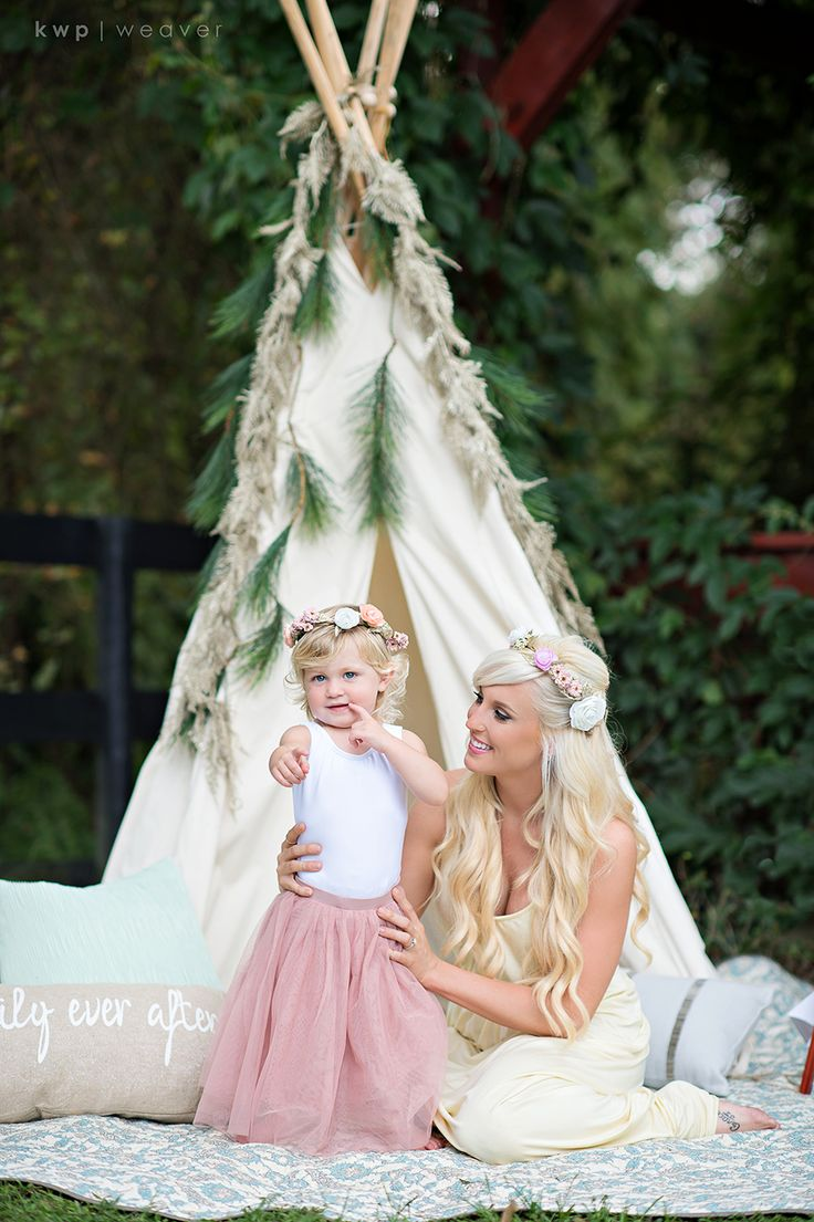 Boho mom and daughter 2nd birthday styled shoot with flower crown, teepee and unicorn from Kristen Weaver Photography