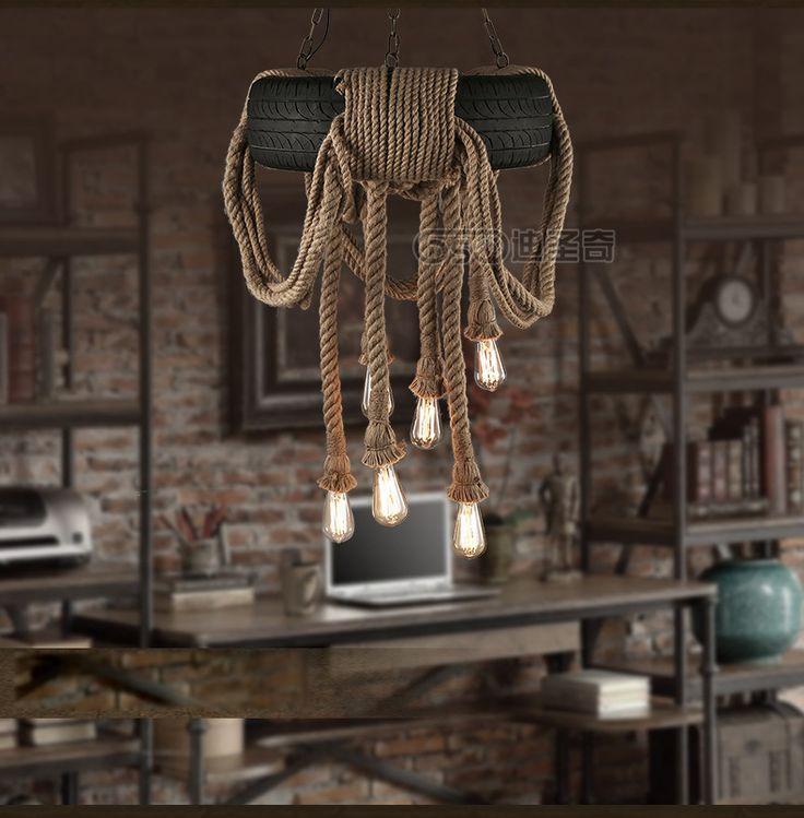 Sustentável - Possível reutilização de pneu Vintage Industrial luz pingente de lâmpada de corda de cânhamo Reataurant café loja de decoração acessório em Luzes de pingente de Luzes & Iluminação no AliExpress.com | Alibaba Group