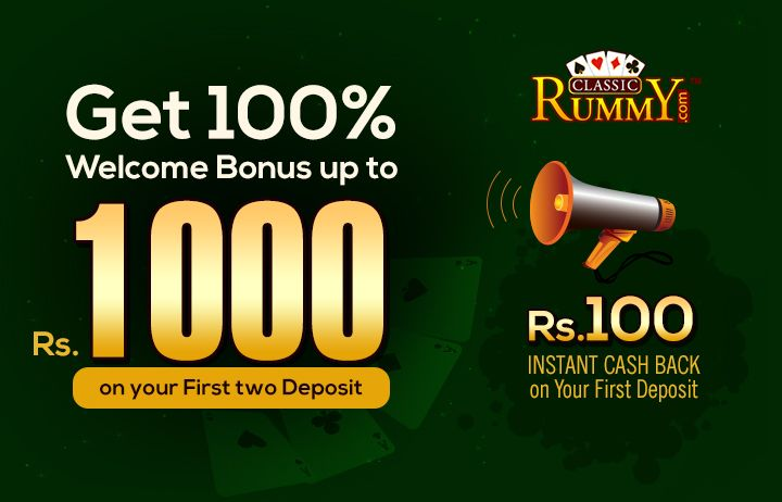 Welcome Bonus + Instant Cash only @ classicrummy.com  Get 100% Welcome Bonus up to Rs.1000 on your First two Deposit + Rs.100 Instant Cash Back on Your First Deposit  https://www.classicrummy.com/13-cards-rummy-cash-bonus?link_name=CR-12  #rummy #welcomebonus #cash #bonus #cashback #rummygames #onlinerummy