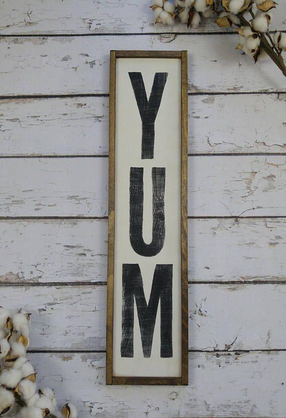 Vertical Wood Yum Sign Farmhouse Style