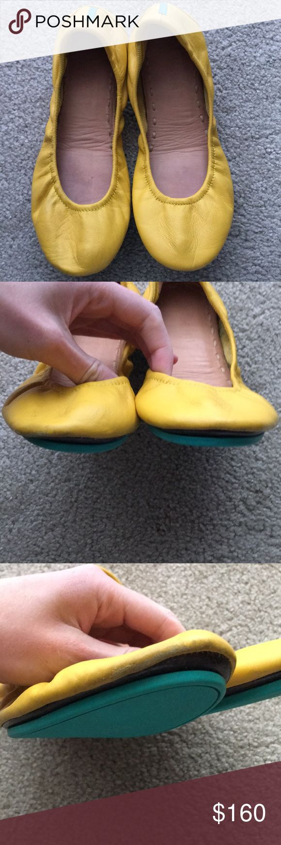 Tieks Mustard Yellow Ballet Flats size 7 Mustard Tieks in a size 7. These have been only worn a few times and only have minor scuffs to toes and heels. See photos. Tieks Shoes Flats & Loafers