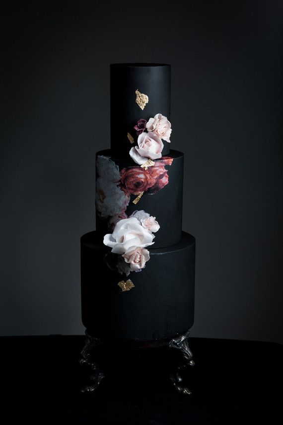 Dark floral wedding cake. Special wedding cake ideas by Vasiliki check out more at http://www.homeboutiquecraft.com