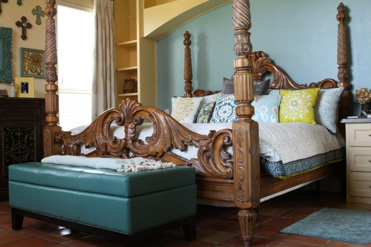 Spanish Style Home Bedrooms | The same beam sizes were used in the Master Bedroom as well. There are ...