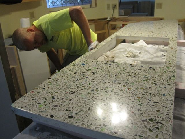 Wow! Make your own recycled glass countertop! Gorgeous! DIY but time intensive...BrainRight - Main Kitchen Countertop - North