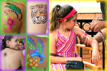 airbrush tattoo party for kids!!!  (We are so doing this...someday)