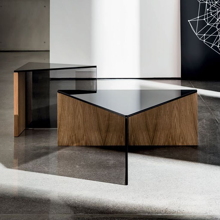 Unique combination of #glass and #wood  Regolo triangular coffee #table #design by Lievore Altherr Molina