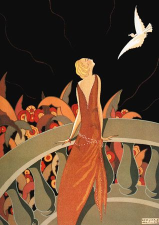 Le Messager, 1925, Artist: Halouze, Art Deco  Looks like my character Suzanne in Bluebirds Among the Whirlwinds looking at the moon while at the MIssion Inn in Riverside.