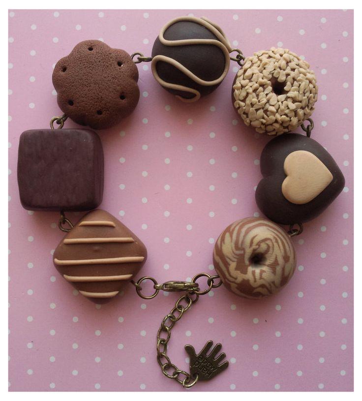 Pulsera de postres de chocolate en  arcilla polimérica / polymer clay