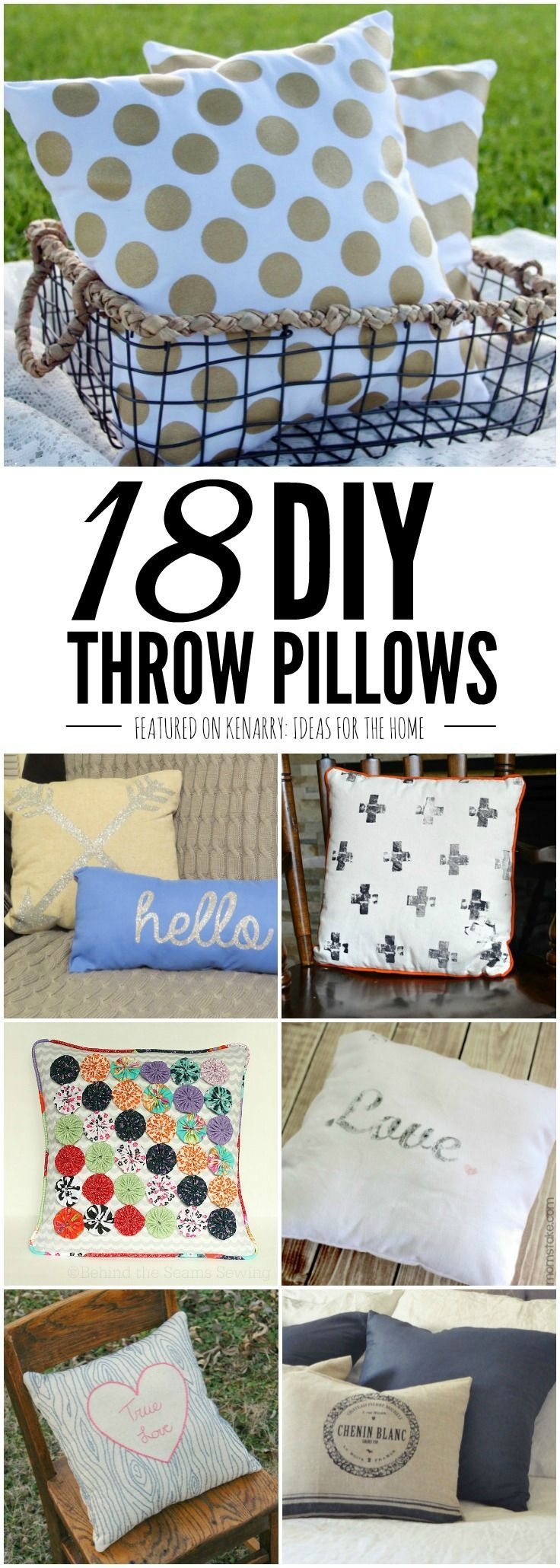 You'd be surprised how easy it is to make your own pillows with these 18 DIY Throw Pillow tutorials. Ideas include both no-sew and easy sewing ideas that anyone can do to make their home beautiful. Throw pillows add style, comfort and texture to any room
