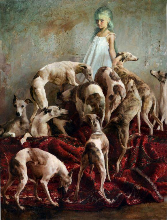 Guillermo Lorca: Laura y los perros, Óleo sobre tela, 200 x 150 cms, 2012