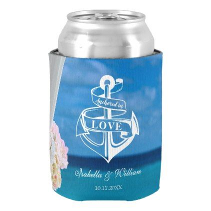 Modern Floral Blue Ocean Beach Wedding Can Cooler - wedding shower gifts party ideas diy cyo personalize