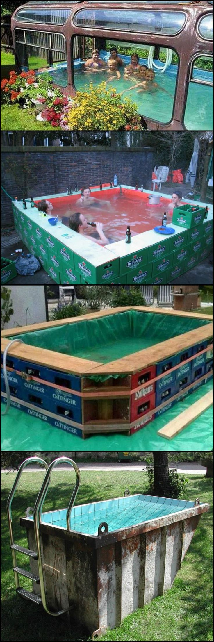 These are interesting, creative, and economical way to make your own swimming pool! You can choose from a wide variety of temporary swimming pools. Depending on your level of construction skills, you can easily build one, and save yourself from the cost of a permanent swimming pool.
