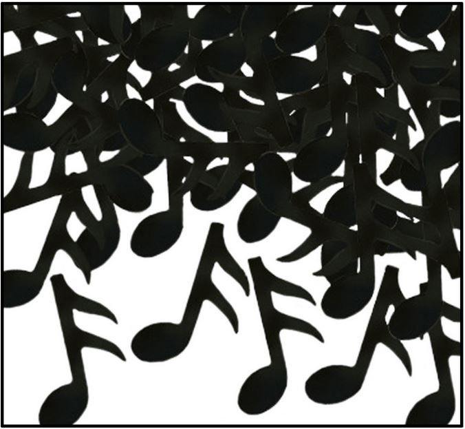 Musical Notes Fun Confetti Scatters.  Make your music themed party table shimmer with this fun-shaped confetti.